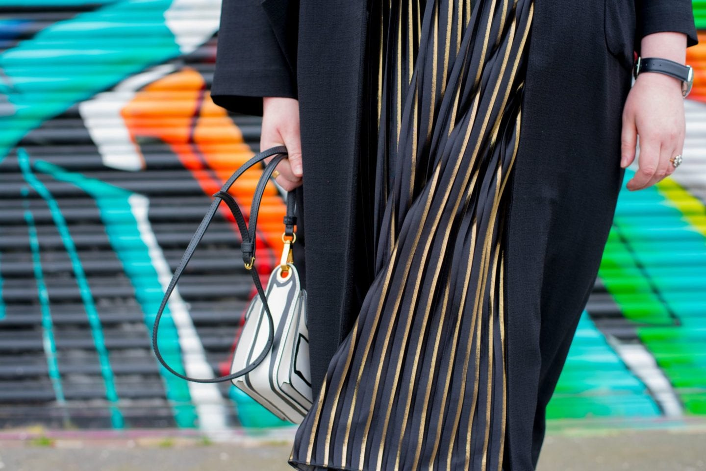 asos black and gold pleated skirt curve blogger