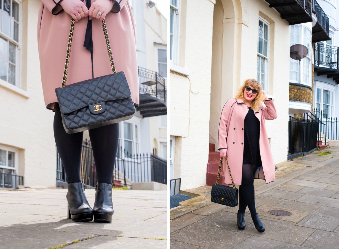 black chanel handbag with gold hardwear caviar leather and pink coat fashion blogger curve blogger blog style