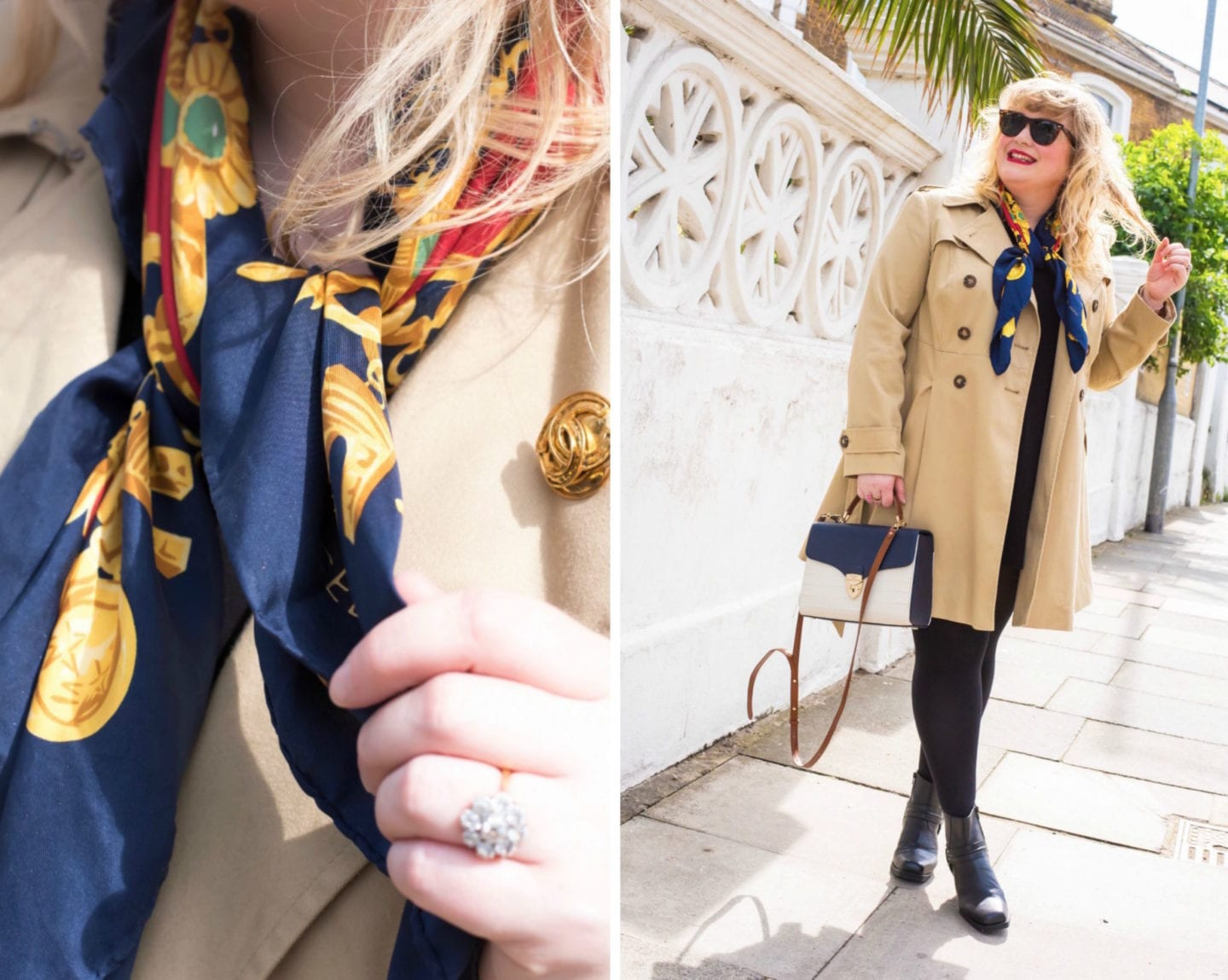 celine vintage scarf and chanel brooch