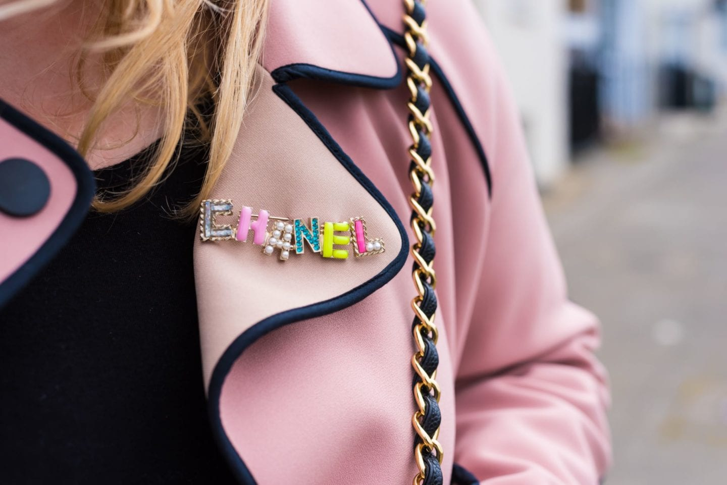 chanel brooch letters multicoloured letters