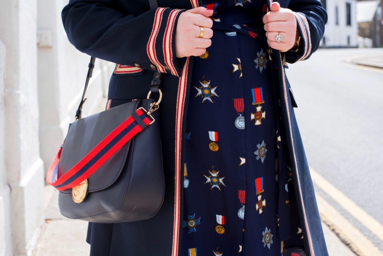 boden handbag nautical red gold navy anchor