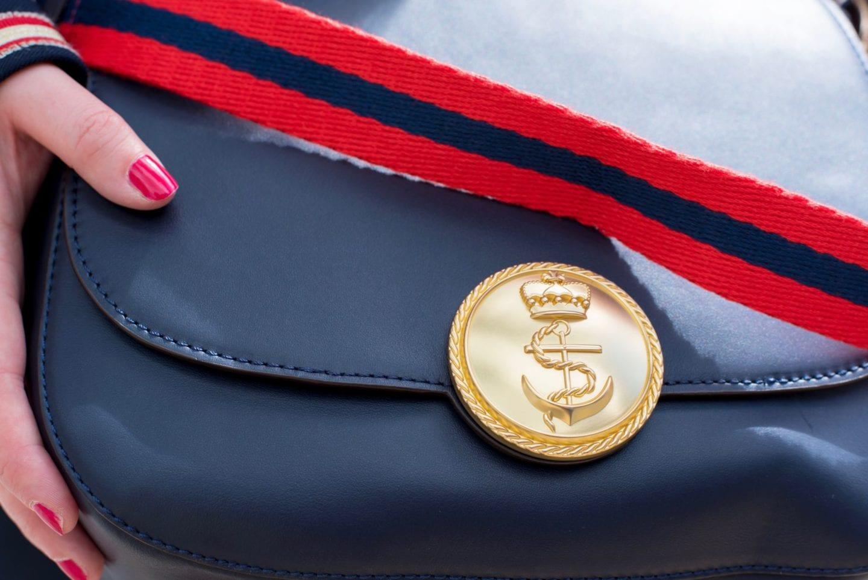 boden handbag nautical red gold navy anchor button