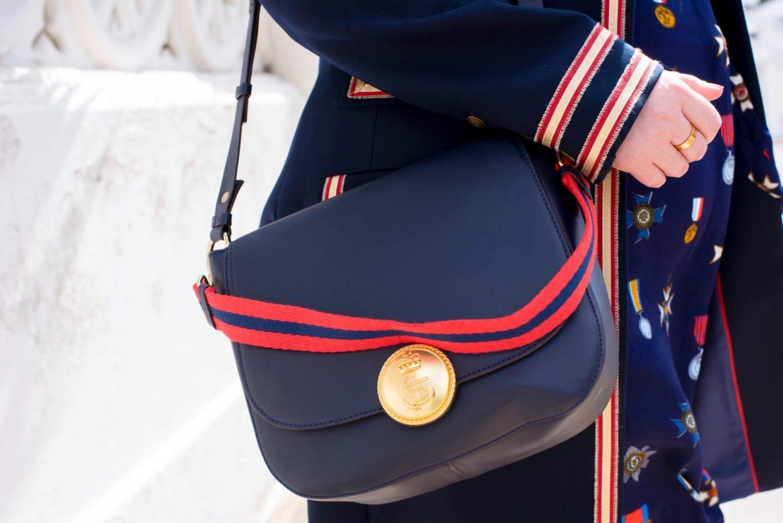 boden handbag nautical red gold navy anchor shoulder