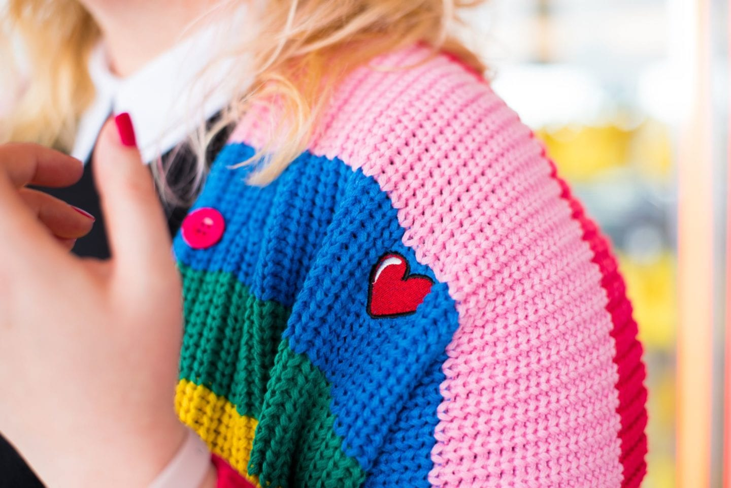 rainbow cardigan by lazy oaf boring back print
