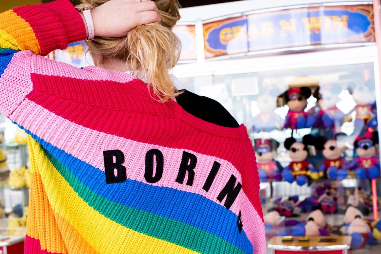 rainbow cardigan by lazy oaf boring back print colourful