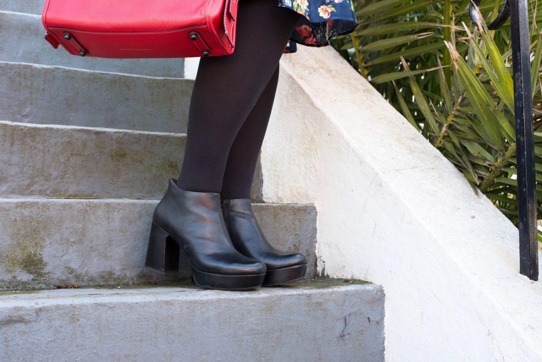 vagabond black leather platform boots