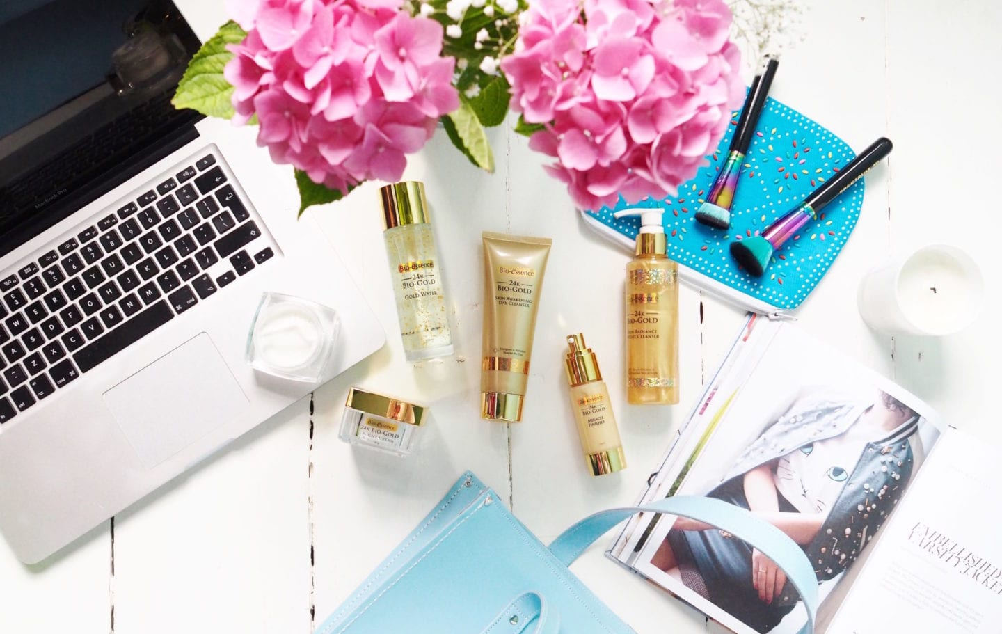 24k gold skin care flatlay skincare review