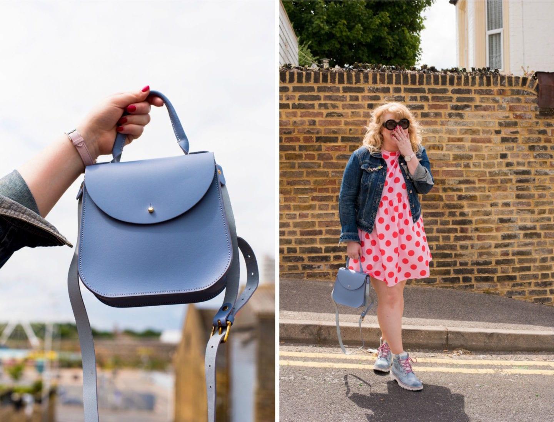 charlotte elizabeth handbag blue pale pastel made in england