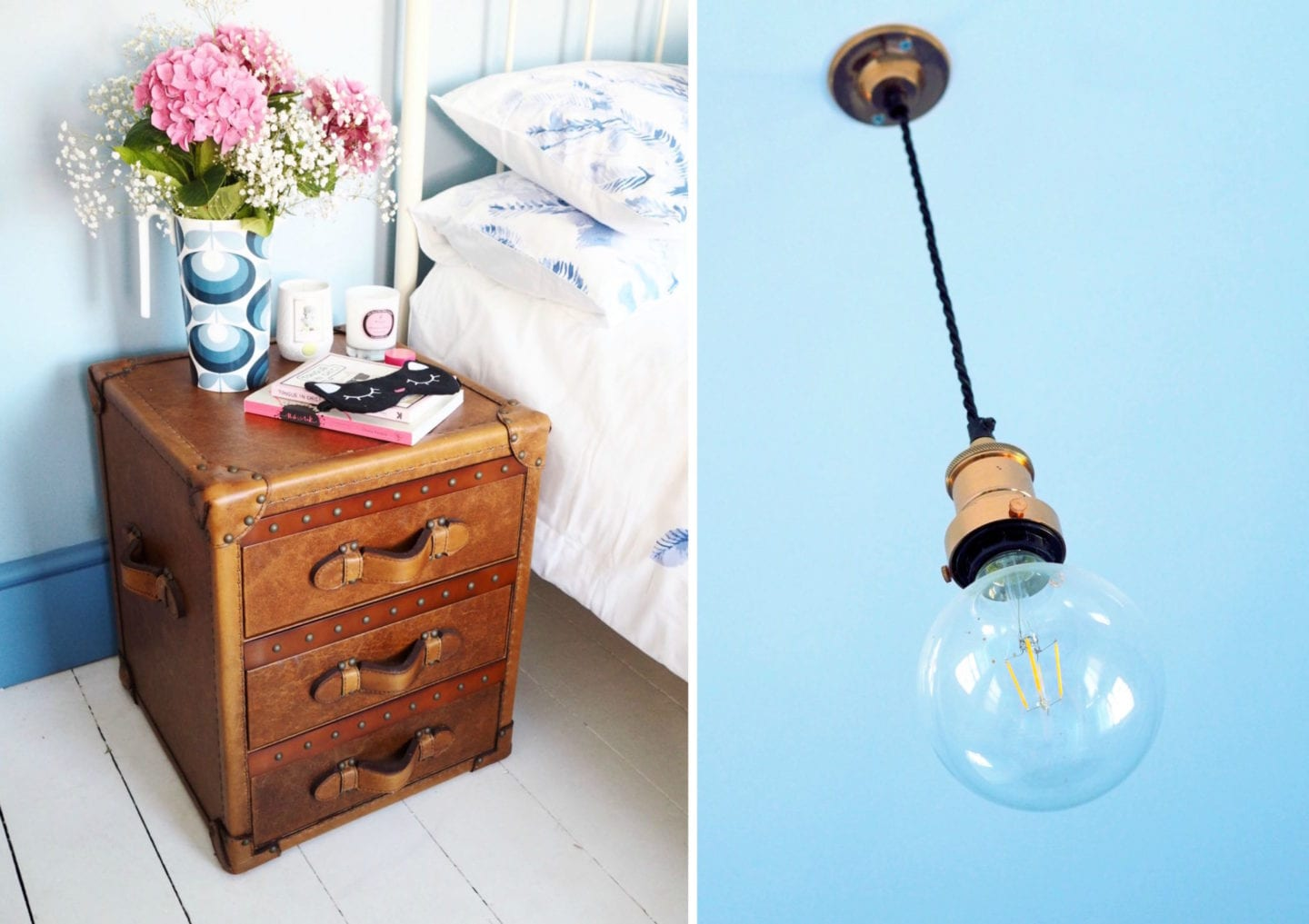 feather and black bedside table