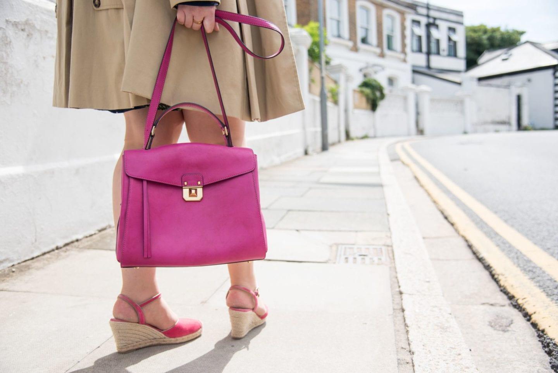 mcm worldwide pink handbag satchel kelly style fashion blogger hot pink leather
