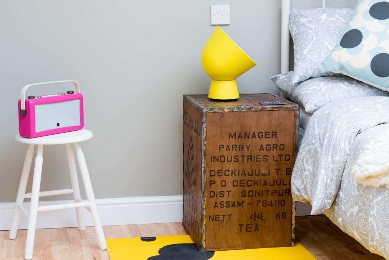 pink vq radio and yellow ikea lamp