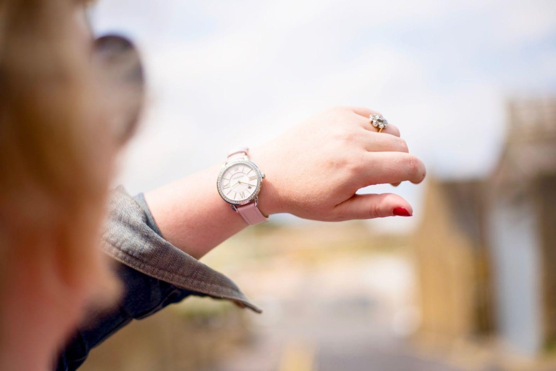 swarvoski pink and silver crystal watch