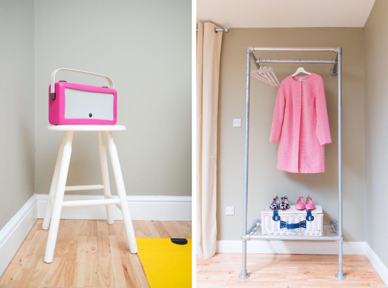 vq pink radio and scaffolding wardrobe
