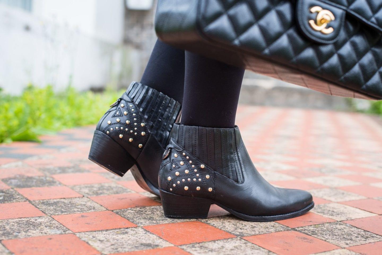 hudson black boots western leather black