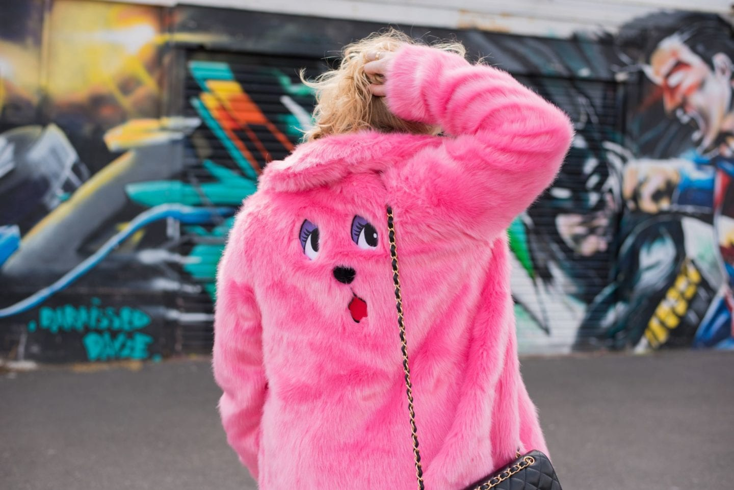 lazy oaf pink bear coat bear face on back
