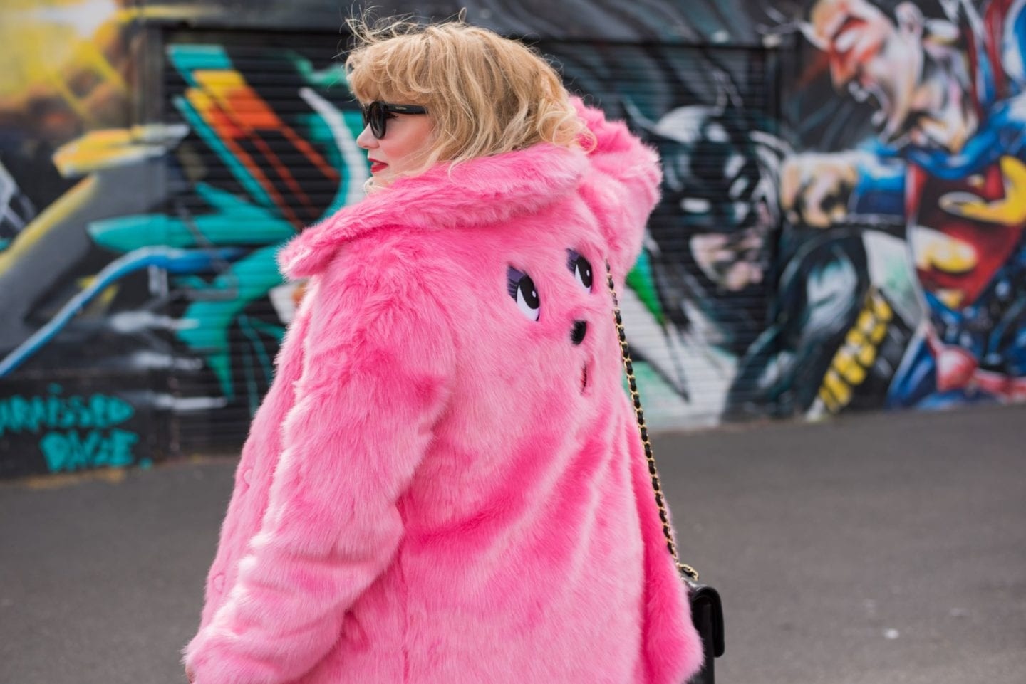 lazy oaf pink bear coat bear faux fur