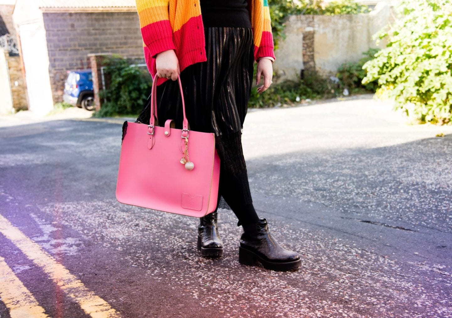 leather satchel company pink tote bag
