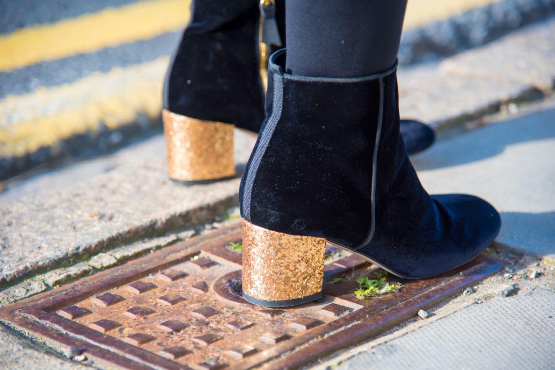 boden boots black velvet gold glitter heel