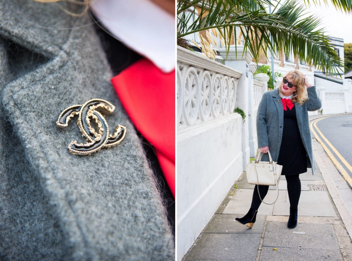 chanel black baroque brooch