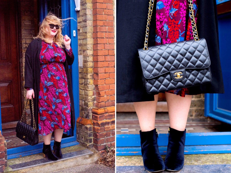 chanel handbag classic flap black leather boden winifred dress