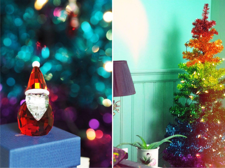 swarovski father christmas santa claus figurine paperchase rainbow tree