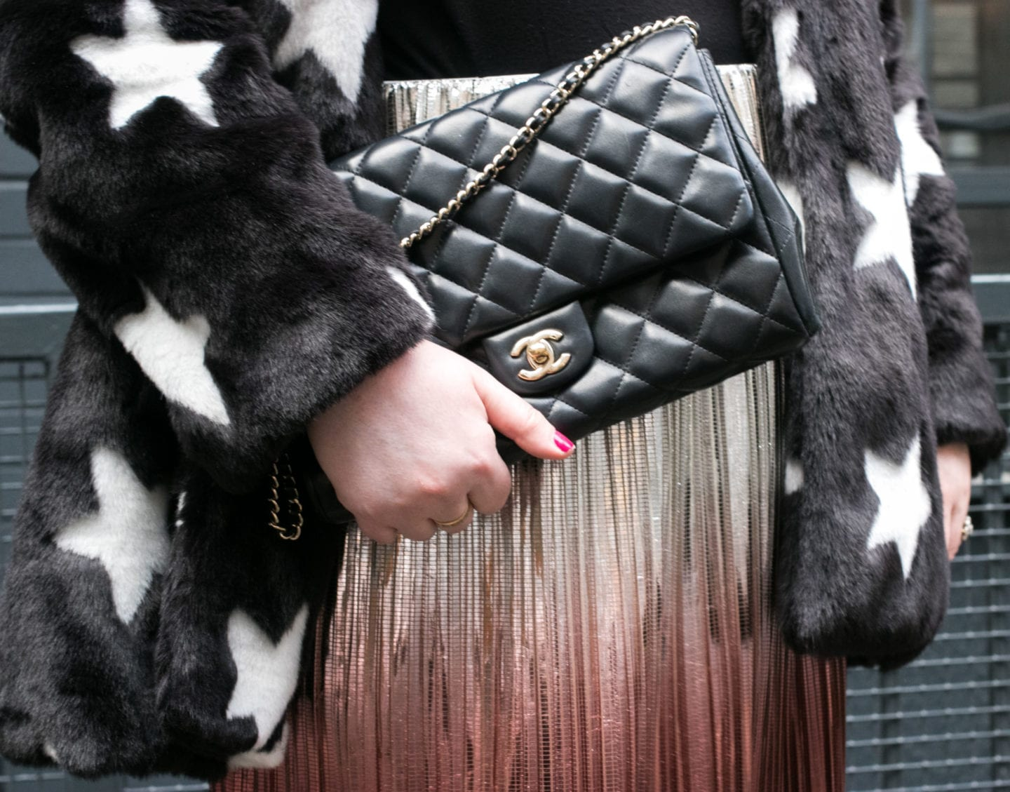 chanel black clutch bag handbag flap lambskin