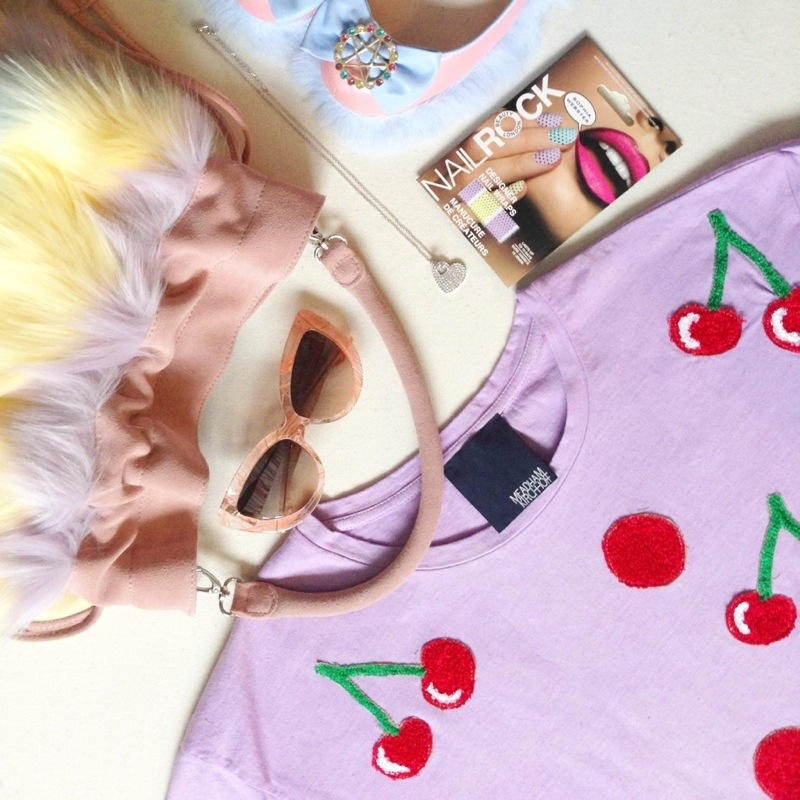 topshop x meadham kirchhoff collaboration fur bag and furry shoes linda farrow x charlotte olympia feather sunglasses nail rock nail wraps sophia webster cherry top tee shirt by meadham kirchhoff kirchoff