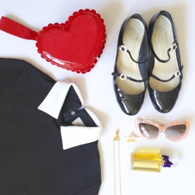 fashion for lunch blog - lavish alice dress - vintage chanel shoes - minna parikka heart shaped bag