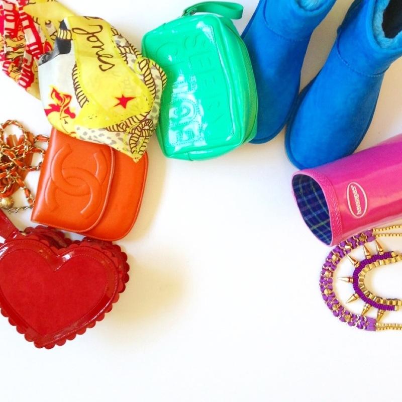 rainbow fashion - fashion for lunch - fashionforlunch - orange chanel bag - blue ugg boots