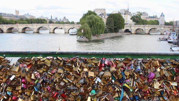 bridge with padlocks in Paris