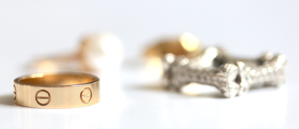 cartier love ring in gold with vivienne westwood bone ring square silver crystals   fashion blog blogger personal style ootd wordpress flatlay