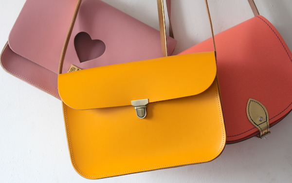 ndamus british made leather handbag yellow orange saddle bag trading company bag handbag betty brice pink cutout heart satchel personal style fashion blog uk top recommended cool blogger