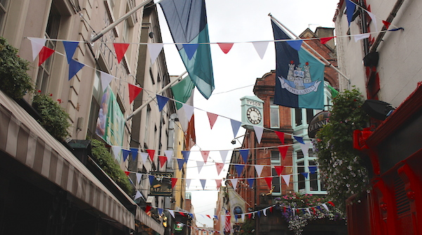 streets of dublin with bunting