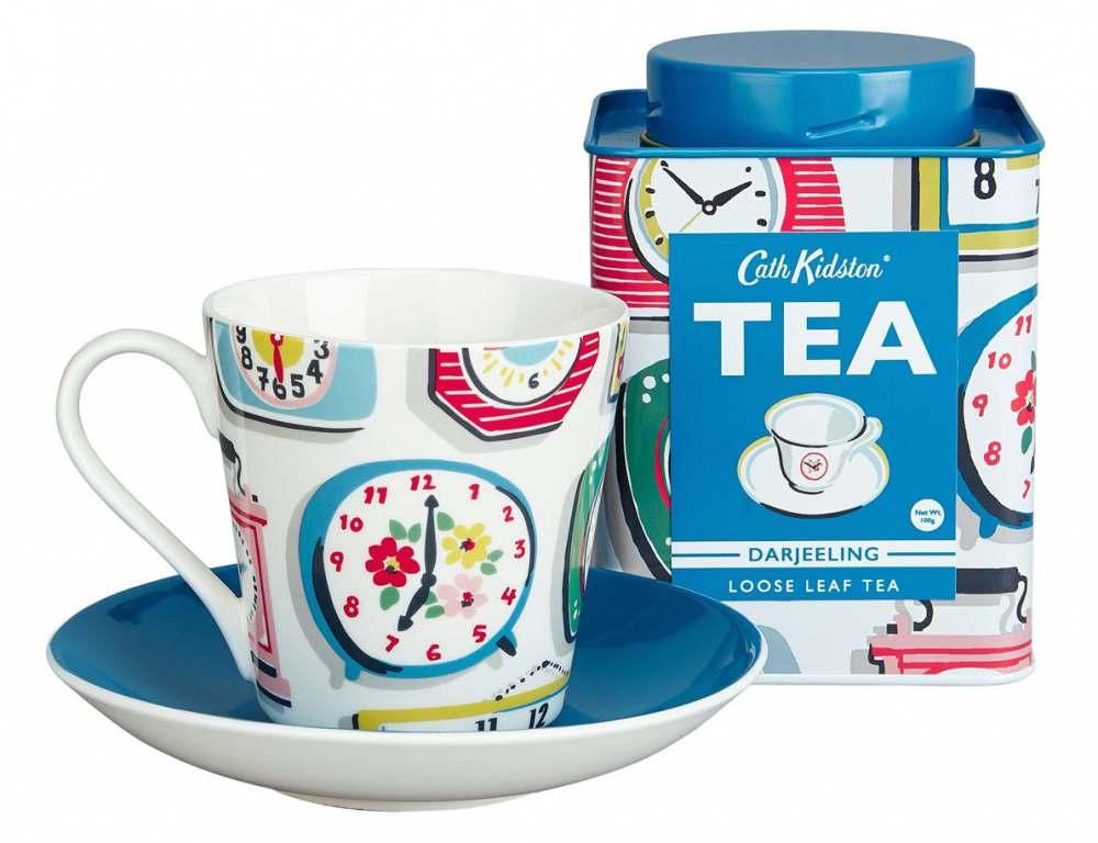 cath kidston clock print tea set