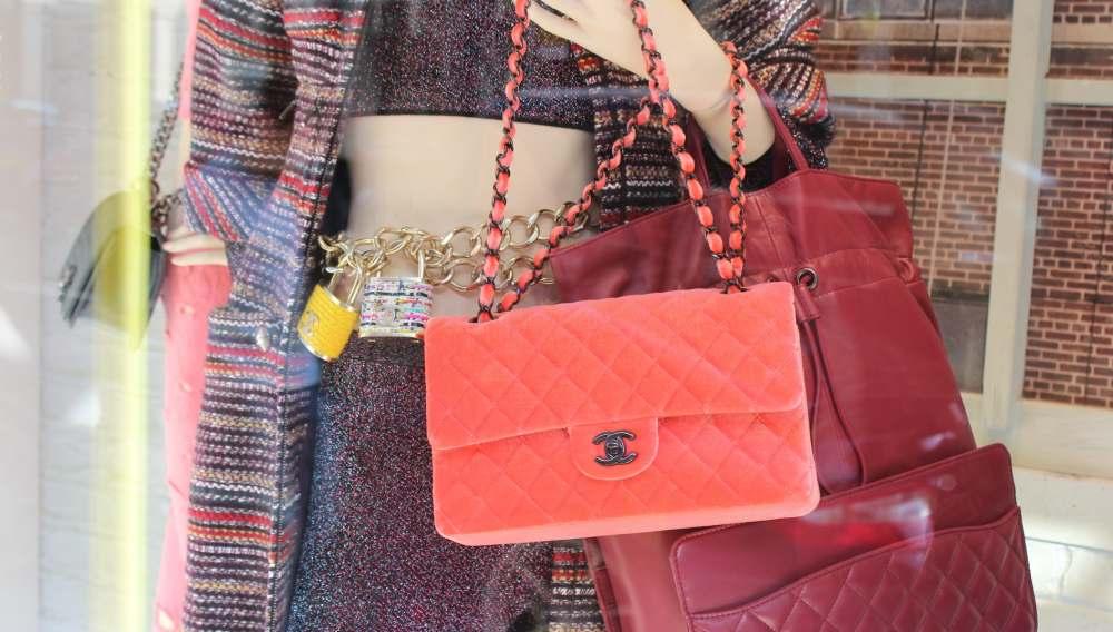 chanel aw14 collection london store coral velvet handbag chanel padlock belt necklace