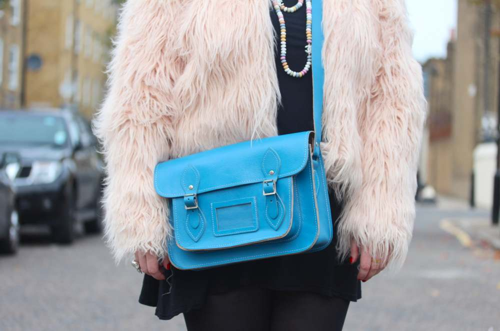 blue satchel scaramanga boohoo pale pink fur jacket blue scaramanga satchel bag chanel candy sweets sweeties necklace chain pendant rare blue satchel fashion blogger blog uk style personal cool