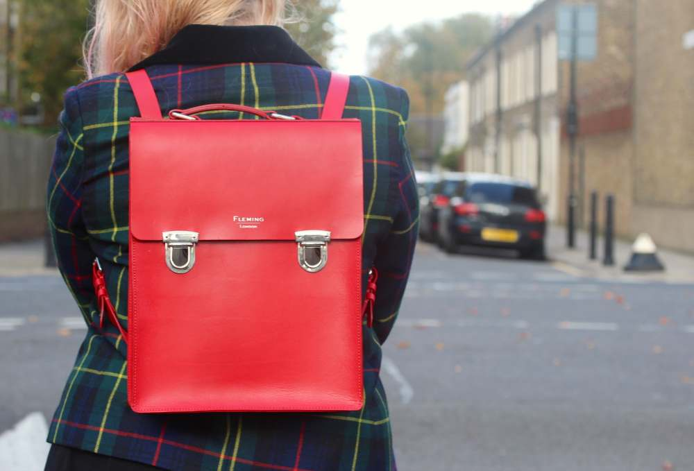 flemming london backpack handbag fleming made in england bag street style personal style fashion blogger london uk top fashion blogs england rucksack backpack satchel red