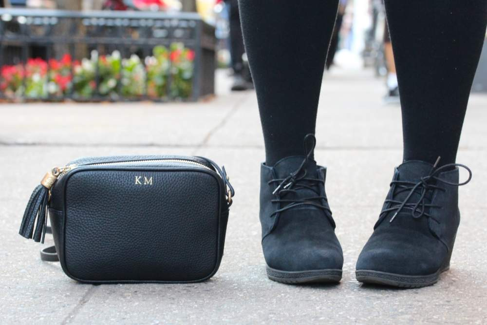 gigi new york monogrammed bag hush puppies black suede shoes boots fashion blogger personal style