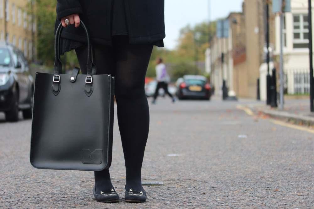 leather satchel company black tote handbag cat face shoes pumps charlotte olympia fashion blogger wordpress