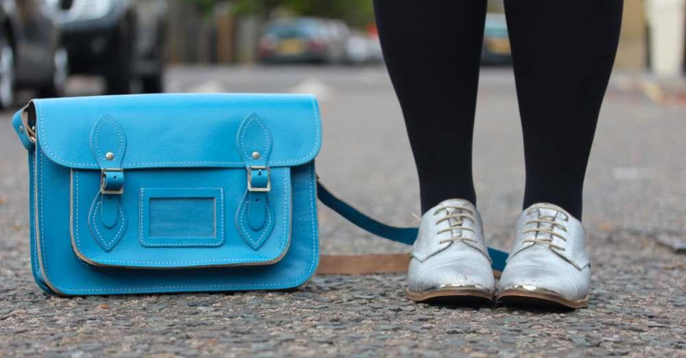 next silver brogue shoes metallic blue scaramanga tote bag leather satchel vintage style fashion blog blogger personal style wordpress uk british