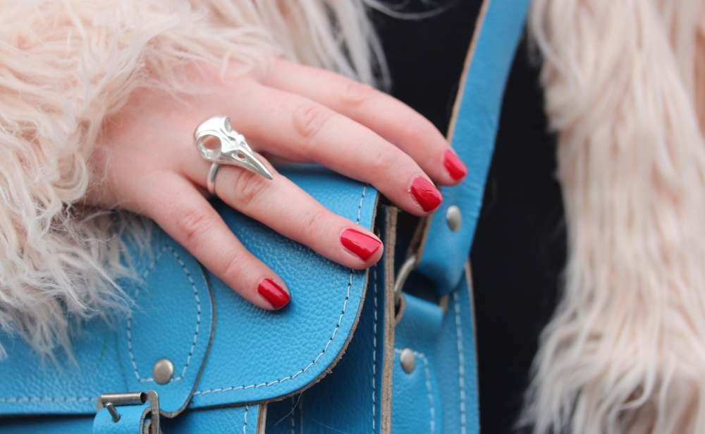 tracy hills ring jewelstreet blue scaramanga leather satchel bag raven head ring