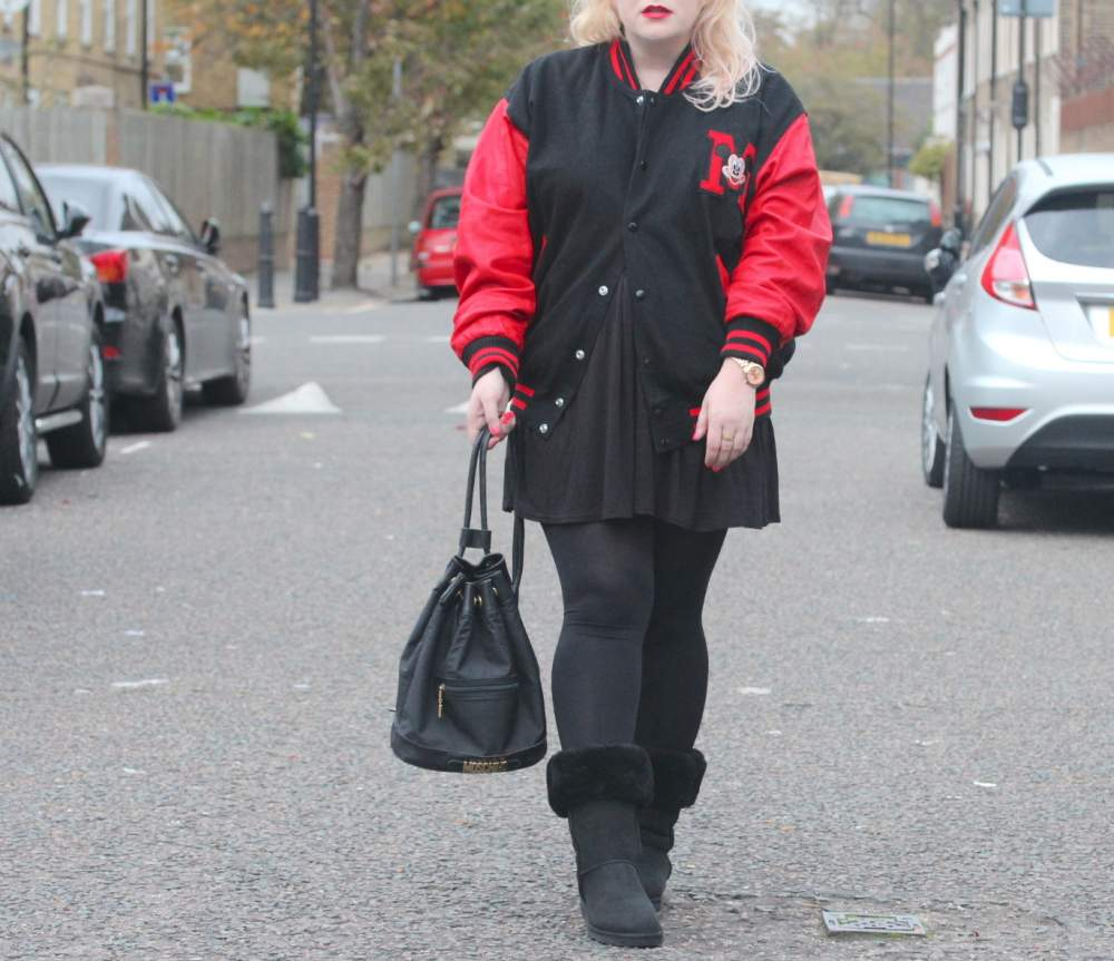 vintage mickey mouse red letterman jacket moschino vintage bucket bag ugg boots uk london fashion blog personal style my style british beauty blog fashion lifestyle ootd wordpress