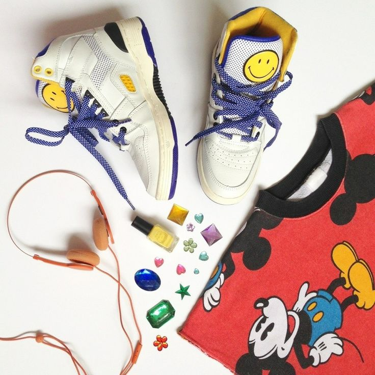 80s flatlay mickey mouse tee shirt pony x smiley trainers fashion blogger style wordpress uk london personal style fashion ootd london recommended top wiwt