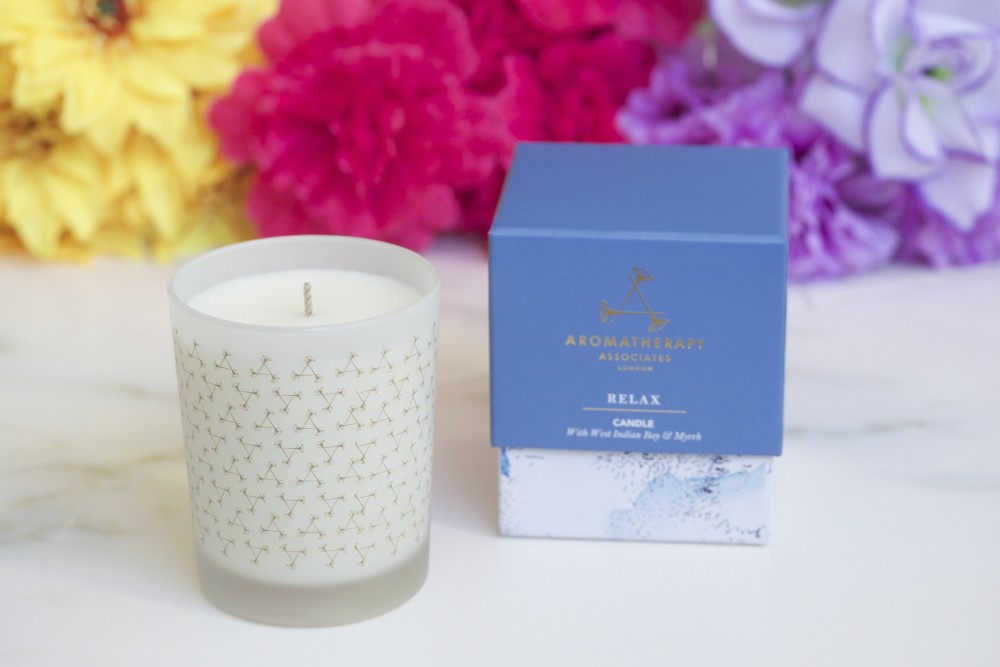 aromatherapy associates relax candle fashion beauty blog wordpress soy infused with West Indian bay and myrrh essential oils  natural candle uk london blog relax spa scent home life lifestyle luxury