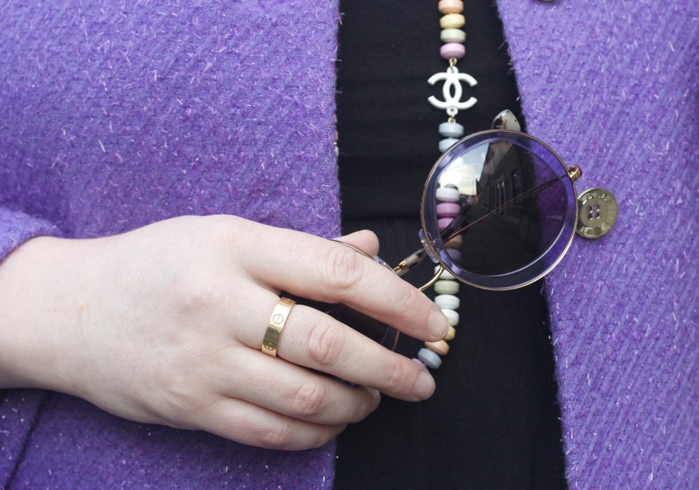 chanel sweeties necklace sweets miu miu purple cartier love ring gold silver rose round sunglasses fashion blog fashion blogger style wordpress uk london personal style fashion ootd london recommended top wiwt
