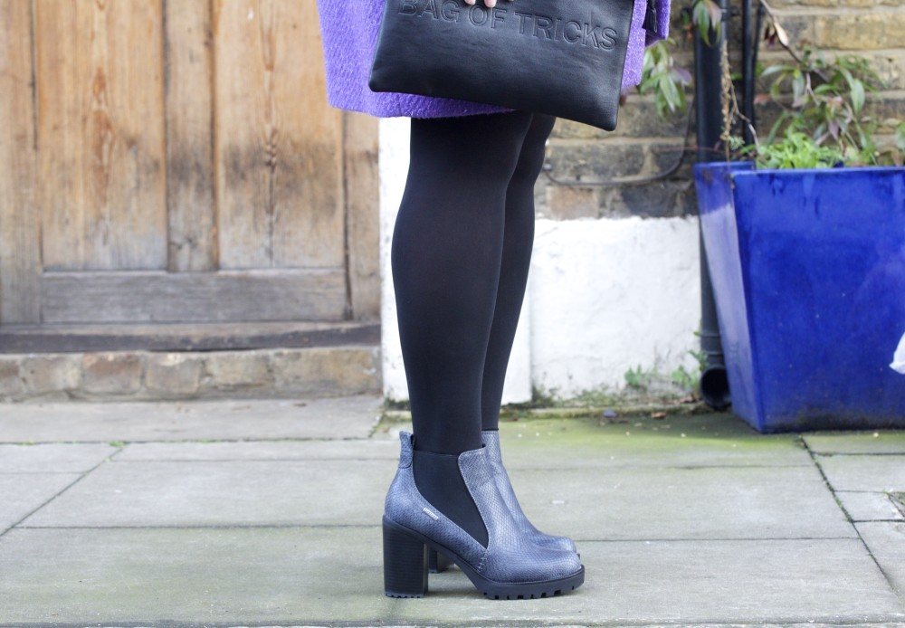 firetrap snakeskin boots heels boohoo bag of tricks handbag fashion for lunch blog labelsforlunch style firetrap boots heels shoes snakeskin snake skin luella purple coat personal style fashion blog blogger uk london ootd wordpress blogspot