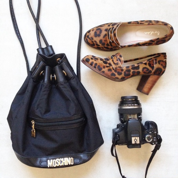 moschino duffle bag bucket vintage canon camera boden leopard print shoes fashion blogger style wordpress uk london personal style fashion ootd london recommended top wiwt