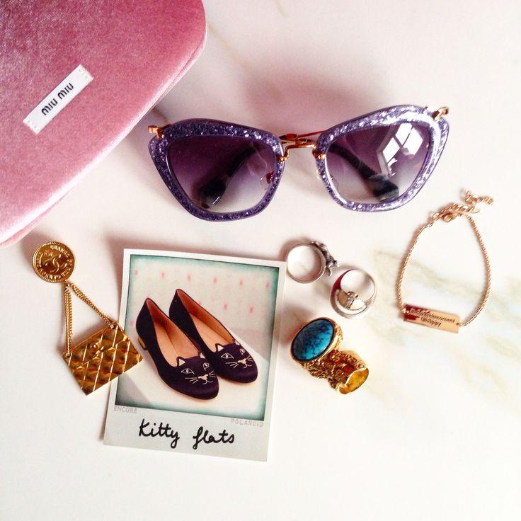 purple glitter miu miu sunglasses glasses chanel handbag brooch