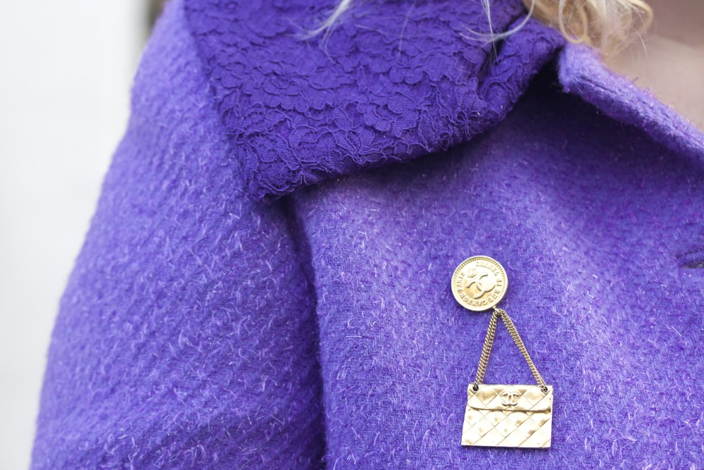 vintage chanel brooch handbag on chain with coin luella coat luella coat purple glitter sparkly ss09 fashion blogger fashion blogger style wordpress uk london personal style fashion ootd london recommended