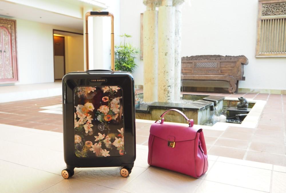 ted baker designer flight suitcase floral design black travel case rose gold detailing